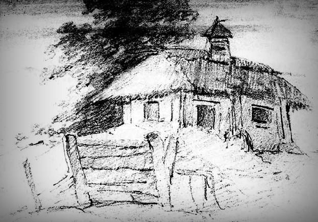 Wiejski dom wieczorową porą