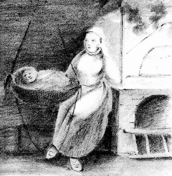Wnętrze chłopskiej chaty. Kobieta kołysze dziecko w podwieszonej do pułapu kołysce