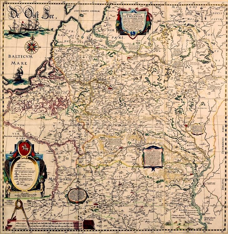 Fragment ściennej mapy radziwiłłowskiej Wielkiego Księstwa Litewskiego