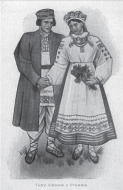 Typy ludowe z Polesia. Mal. W. Boratyński (pocztówka, okres międzywojenny, ze zbiorów B. Dunin-Wilczyńskiego)