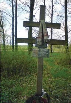 Grób Romana Skirmunta, akurat na tym drewnianym krzyżu przymocowaliśmy szyld ku 140-leciu.