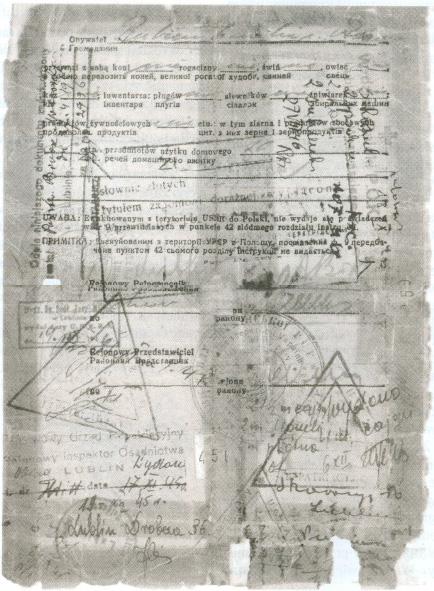 Kopia karty ewakuacyjnej z zesłania w Kazachstanie do Polski po 6 latach i 7 miesią-cach rodziny Turni łowiczów. Bubień i Gilejko.