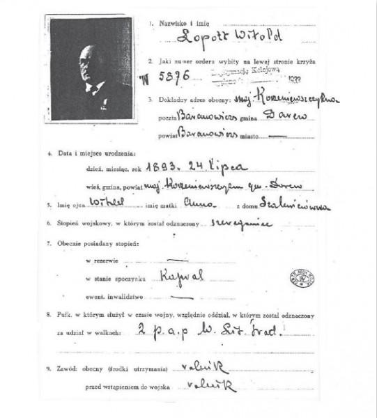 Dokument o nagrodzeniu Witold Łopota orderem Wirtuti Militari