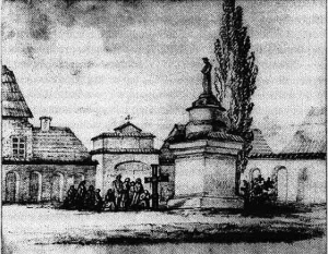"""Rysunek H. Skirmunt """"Krzyż """"demonstracyjny"""" przed Katedrą"""""""