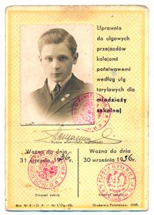 Legitymacja szkolna ucznia Gimnazjum państwowego im.Romualda Traugutta 1935-1936 r.