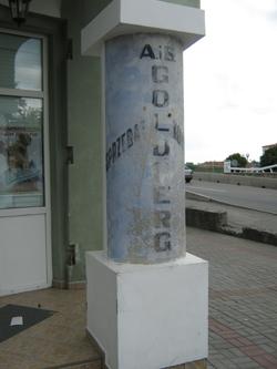 Szyld reklamowy firmy Holdbergów w Pińsku