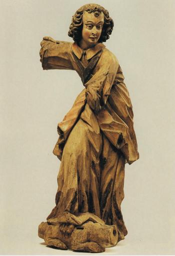 Archanioł Michał», 1470-1480 r., zabrany podczas XVIII ekspedycji Narodowego Muzeum Dzieł Sztuki w 1970 r. w kościele p.w. Świętej Trójcy Szereszewie