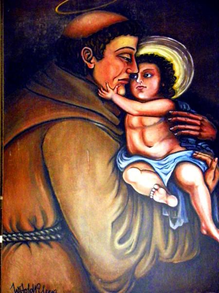 Przekazany kościołowi w darze przez W.Pileckiego obraz Św. Antoniego jego autorstwa