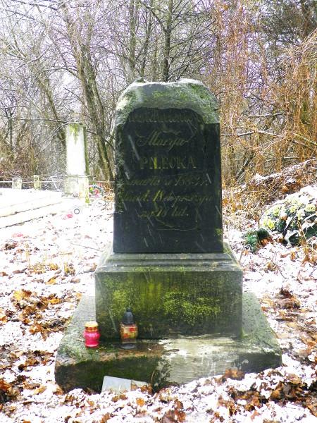 Zdewastowany pomnik na grobach rodziny Pileckich na cmentarzu w w.Krupowo