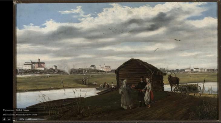 U przewozu – Widok Pińska. Wincenty Dmochowski (1807 – 1862)