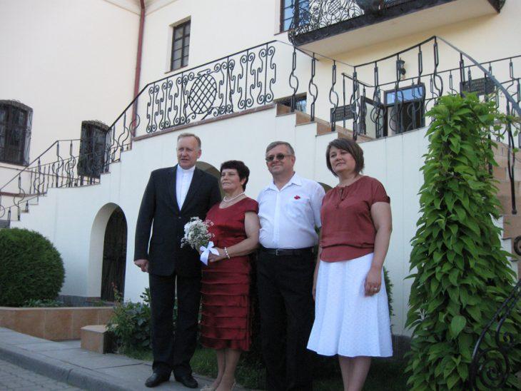 Lidzianie na Polesiu (od lewej -  ksiądz Józef Hańczyc oraz autor)