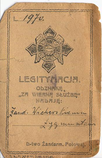 """Legitymacja odznaki dowództwa Żandarmerii Polowej """"Za wierną służbę. 1918-1921"""""""