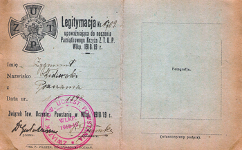 """Legitymacja upoważniająca do noszenia Pamiątkowego Krzyża """"Związek Tow. Uczestn. Powstania w Wlkp. 1918/1919"""""""