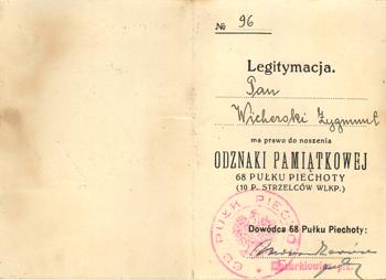 Legitymacja upoważniająca do noszenia Odznaki Pamiątkowej 68. Pułku Piechoty (10. Pułku Strzelców WŁKP)