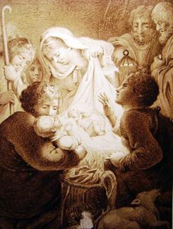 Franciszek Pelikan. Pokłon pasterzy, rysunek