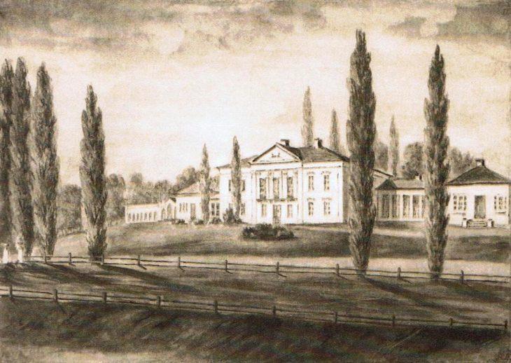 Pałac Radziwiłłów w Połoneczce na rysunku Napoleona Ordy z 1876 roku