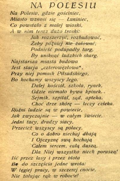 Notatka O Prasie Przedwojennej łuninieckiej I Miejscu Poezji